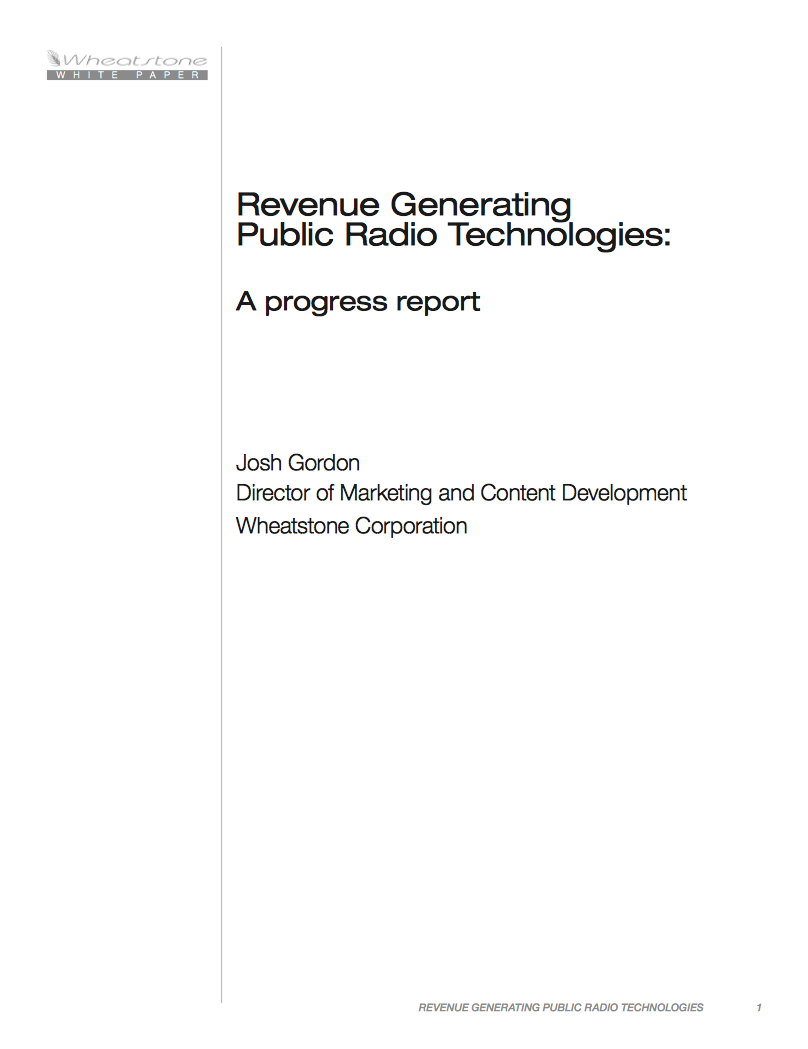 Wheatstone Public Radio Revenue Generation White Paper